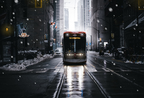 New York, winter, tram, snow, skyscrapers