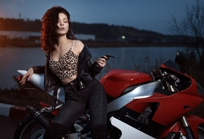 women, Ivan Sheremet, jeans, animal print, river, closed eyes, leather jack ...
