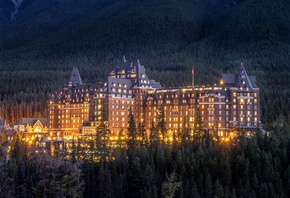 Вечер, Дома, Канада, Fairmont, Banff, Springs, Отель, Банф