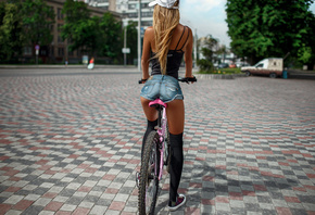 women, blonde, jean shorts, baseball cap, ass, black stockings, sneakers, b ...