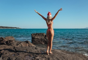women, blonde, ass, sea, Sergey Freyer, arms up, red bikini, the gap, brune ...