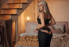 women, Sergey Freyer, bed, stairs, lamp, ass, black lingerie, undressing, black skirts, looking at viewer, women indoors, pillow, brunette, dyed hair
