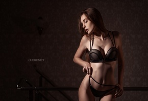 women, Ivan Sheremet, hips, black lingerie, belly, ribs, women indoors, long hair, tattoo, red nails, brunette, wall, the gap