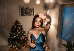 women, portrait, blue dress, red lipstick, women indoors, Christmas, plants, presents, Christmas Tree, drinking glass
