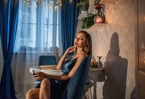 women, portrait, blue dress, red lipstick, women indoors, sitting, table, c ...