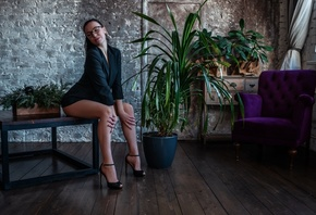women, closed eyes, plants, sitting, high heels, women with glasses, wall, wooden floor, armchair, women indoors, pink nails, ponytail