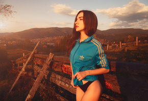 women, black panties, women outdoors, Adidas, fence, looking away, mountains, sky, clouds, redhead, sweater