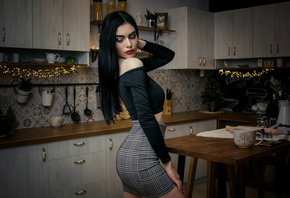 women, black hair, skirt, red lipstick, kitchen, long hair, table, Christmas, makeup, women indoors, pink nails