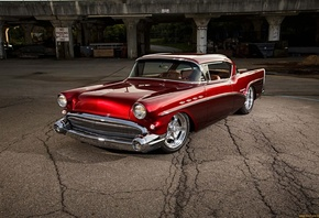 american, classic, car, buick, red