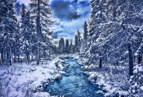 blue river, HDR, beautiful nature, forest, snowdrifts, winter