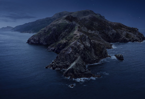 Santa Catalina Island, night, Pacific Ocean, beautiful island, cape, coast, California