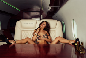 women, Zhenya Stopa, brunette, airplane, table, lingerie, women indoors, spread legs, tattoo, sitting, high heels, watch, red nails