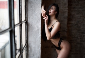women, ass, black lingerie, belly, pierced navel, window, women indoors, long hair, bricks, looking out window, eyeliner