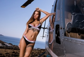 Kristina Shcherbinina, Liya Silver, pornstar, helicopter, women outdoors, tattoo, brunette, sea, belly, reflection, swimwear, nose ring, bikini, women