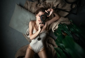 women, top view, bodysuit, nipples through clothing, hips, plants, pillow, armpits, women indoors