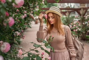 Girl, pink, dress, hat, mood, rose, Bush, garden, backpack, Christina Kardava