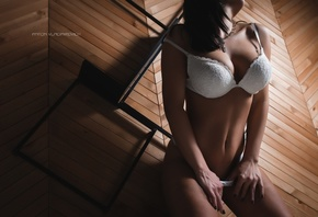 women, Anton Vladimirovich, white lingerie, tanned, belly, women indoors, black nails