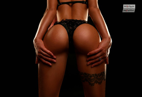 women, ass, tattoo, black background, back, black lingerie, simple background, tanned, studio