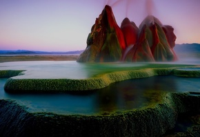 mountains, nature, landscape, sky, water, Fly Geyser, Nevada, USA