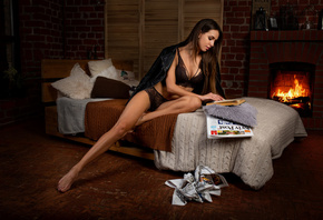 women, black lingerie, fireplace, bed, brunette, women indoors, sitting, leather jackets, black jackets, newspapers, bricks, books, belly