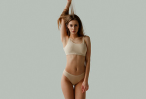 women, simple background, lingerie, brunette, Studio, the gap, armpits, belly, hips, straight hair, underwear