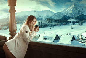women, ass, winter, snow, sweater, cup, blonde, mountains, closed eyes, landscape