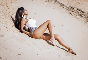 women, brunette, jean shorts, closed eyes, women outdoors, ass, sand, sand covered