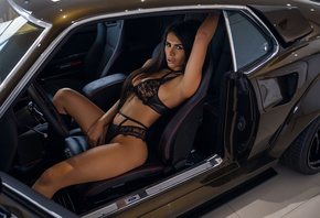 women, tanned, women with cars, sitting, belly, black lingerie, armpits, see-through lingerie, long hair, straight hair, tattoo