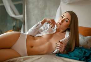 women, blonde, straight hair, in bed, pillow, white shirt, open shirt, whit ...