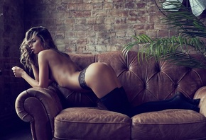 women, ass, boobs, topless, wall, bricks, women indoors, ribs, brunette, tattoo, black panties, plants, couch, kneeling, black stockings