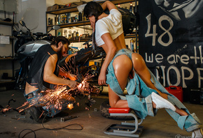 women, ass, tanned, Dmitry Filatov, work, sneakers, torn jeans, crop top, motorcycle, men with glasses, men, tools, tires, sparks, women indoors, women with glasses, workshop, ponytail, body oil, oiled body