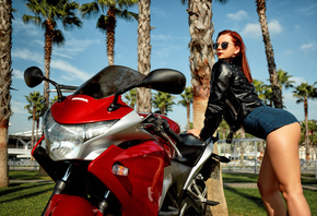 women, ass, redhead, women with motorcycles, leather jackets, palm trees, s ...