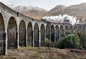 Шотландия, Поезд, Мост, Glenfinnan Viaduct, Дым