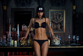women, hips, baseball cap, candles, skull, belly, women indoors, pierced navel, drinking glass, mirror, reflection, black lingerie, watch, black nails