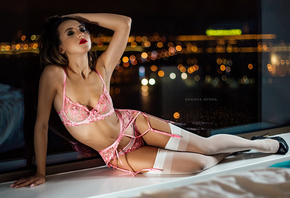 women, Zhenya Stopa, pink lingerie, belly, high heels, garter belt, window, brunette, closed eyes, red lipstick, bokeh, women indoors, armpits, pink nails, reflection