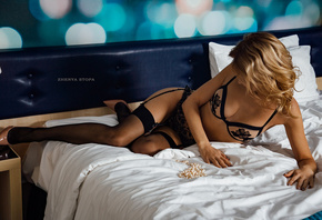 women, blonde, Zhenya Stopa, high heels, garter belt, black lingerie, pillo ...