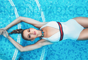 women, Anton Harisov, swimming pool, wet body, wet hair, cleavage, one-piece swimsuit, top view, the gap, ponytail, armpits