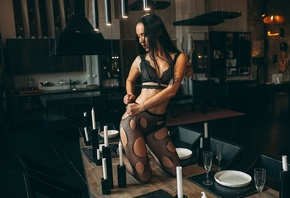 women, brunette, black lingerie, women indoors, kitchen, chair, table, belly, pierced navel, tattoo, plates, candles, spoon, kneeling, wooden floor, cleavage
