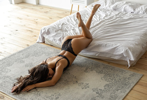 women, mattresses, ass, black lingerie, feet in the air, brunette, women indoors, closed eyes, wooden floor, arched back