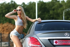 women, jean shorts, belly, pierced navel, Mercedes-Benz, women with cars, sunglasses, tank top, women outdoors, armpits, ass, Alexander Isaev