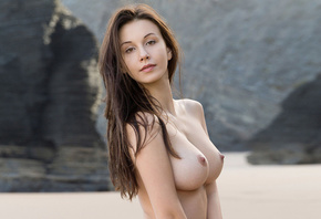 jessica albanka, brunette, outdoor, big tits, boobs, nipples, nude, beach,  ...