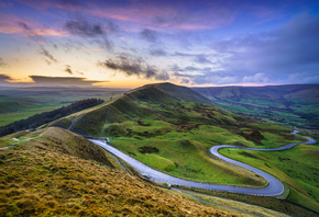 Небо, Англия, Пейзаж, Mam Tor, Peak District, Derbyshire, Холмы, Облака, Пр ...