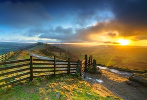 Англия, Mam Tor, Peak District, Derbyshire, Забор, Холмы, Облака, Природа