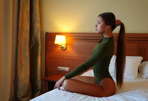 women, bodysuit, sitting, lamp, in bed, long hair, hoop earrings, women ind ...
