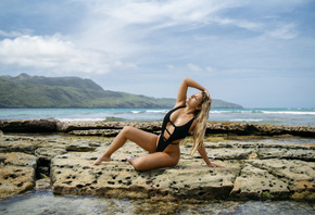 Faith Marone, women, blonde, one-piece swimsuit, sky, clouds, sea, women indoors, sitting, closed eyes, tanned, wet hair, wet body, long hair