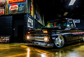 Chevrolet C10, garage, 1968 cars, retro cars, low rider, customized C10, tuning, 1968 Chevrolet C10, pickup truck, american cars, Chevrolet