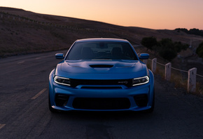 Dodge Charger SRT, Hellcat Widebody, Daytona 50th Anniversary Edition, front view, sports sedan, tuning Charger, new, blue, Charger, american cars, Dodge