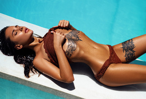 women, Kristina Shcherbinina, closed eyes, bikini, tanned, wet body, wet ha ...