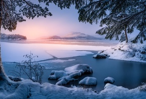 Trondheim, Norway, lake, winter, ice, trees, sunset, panorama, landscape