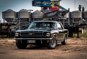 1967, Ford Mustang, retro cars, black coupe, american classic